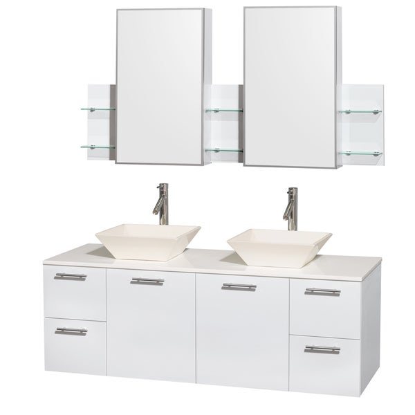 Wyndham Collection Amare 60-inch Glossy White Double Vanity with White Stone Countertop/ Medicine Cabinet
