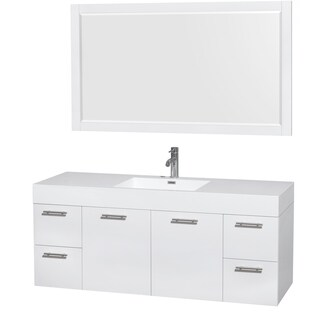 Wyndham Collection Amare 60-inch Single Vanity in Glossy White with Acrylic Resin Countertop/ Integrated Sinks