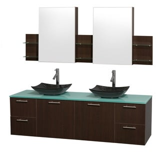 Wyndham Collection Amare 72-inch Double Vanity in Espresso with Green Glass Countertop/ Medicine Cabinet inet