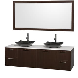 Wyndham Collection Amare 72-inch Double Vanity in Espresso with White Stone Countertop/ 70-inch Mirror