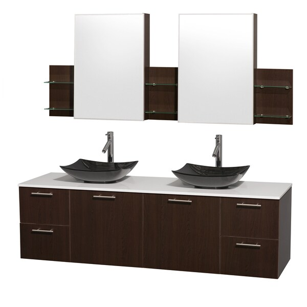 Wyndham Collection Amare 72-inch Double Vanity in Espresso with White Stone Countertop/ Medicine Cabinet inet