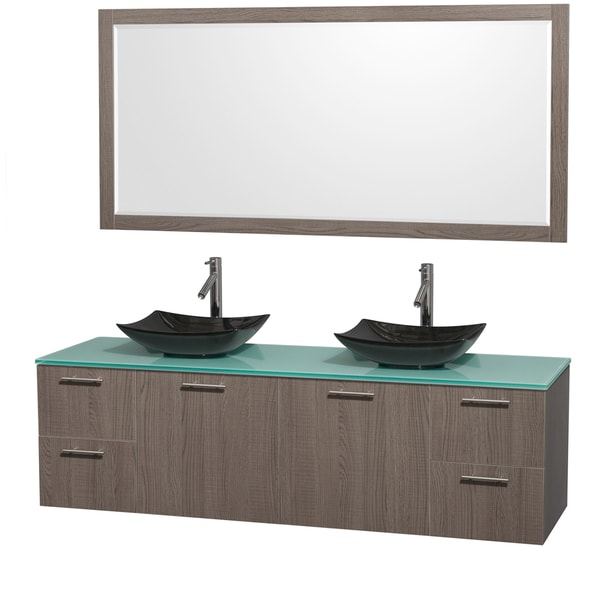 Wyndham Collection Amare 72-inch Double Vanity in Grey Oak with Green Glass Countertop/ 70-inch Mirror