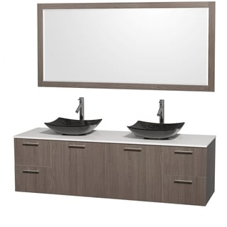 Wyndham Collection Amare 72-inch Double Vanity in Grey Oak with White Stone Countertop/ 70-inch Mirror