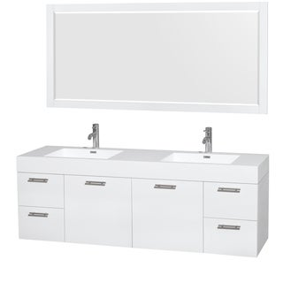 Wyndham Collection Amare 72-inch Double Vanity in Glossy White with Acrylic Resin Countertop/ Integr