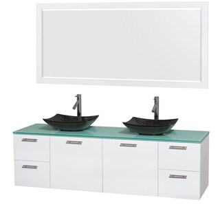 Wyndham Collection Amare 72-inch Double Vanity in Glossy White with Green Glass Countertop/ 70-inch Mirror