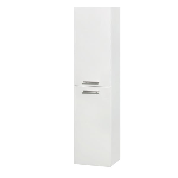 inch wall mounted bathroom storage cabinet in glossy white two door