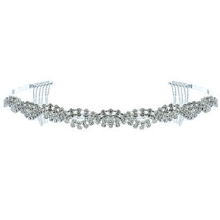 Kate Marie 'Melissa' Delicate Rhinestones Crown Tiara with Hair Combs in Silver