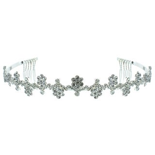 Kate Marie 'Maya' Rhinestone Silver Color Tiara with Hair Combs
