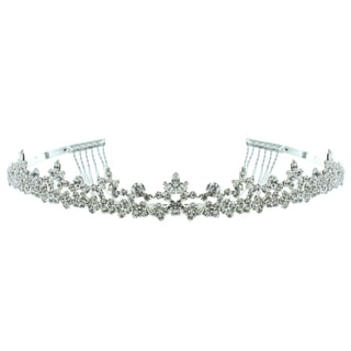Kate Marie 'Lydia' Delicate Rhinestone Tiara with Hair Combs in Silver