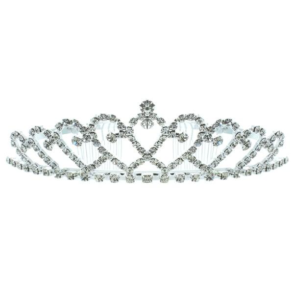 Kate Marie 'Kandi' Rhinestone Tiara with Hair Combs in Silver