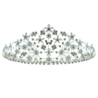 Kate Marie 'Grace' Floral Rhinestone Tiara with Hair Combs in Silver