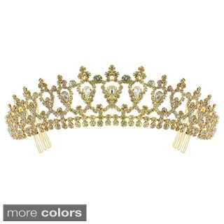 Kate Marie 'Alba' Classic Rhinestone Crown with Hair Combs