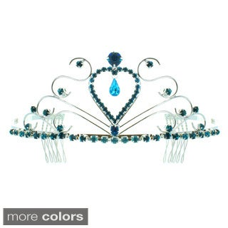 Kate Marie 'Anna' Classic Rhinestones Crown Tiara with Hair Combs