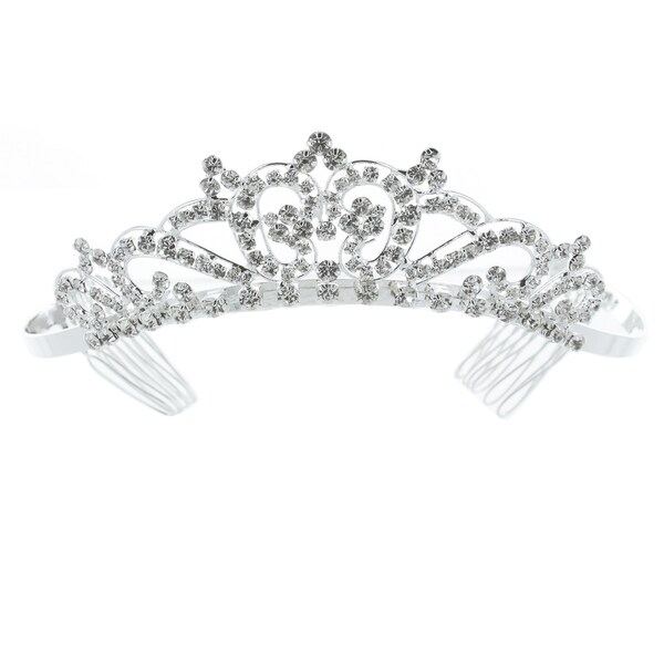 Kate Marie 'Dina' Classic Rhinestones Crown Tiara with Hair Combs in Silver