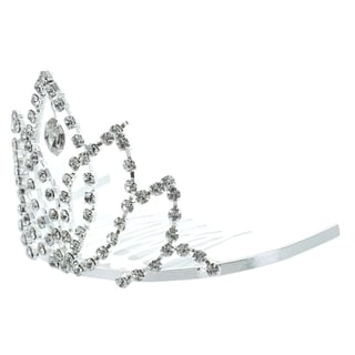 Kate Marie 'Bronia' Rhinestone Crown Tiara Hair Pin in Silver