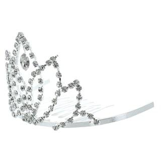 Kate Marie 'Bronia' Rhinestone Crown Tiara Hair Pin in Silver