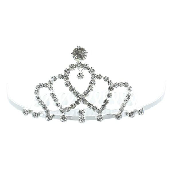 Kate Marie 'Chania' Rhinestone Crown Tiara Hair Pin in Silver