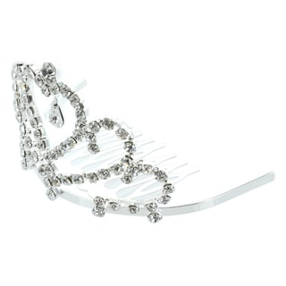 Kate Marie 'Dania' Rhinestone Crown Tiara Hair Pin in Silver