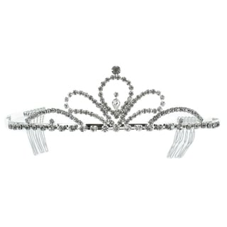 Kate Marie 'Luna' Classic Rhinestones Crown Tiara with Hair Combs in Silver