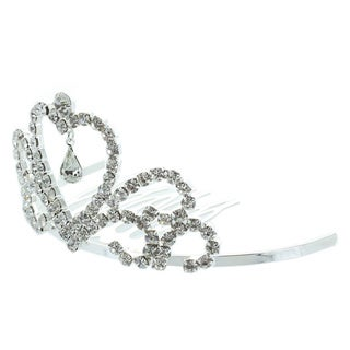 Kate Marie 'Edenia' Rhinestone Crown Tiara Hair Pin in Silver