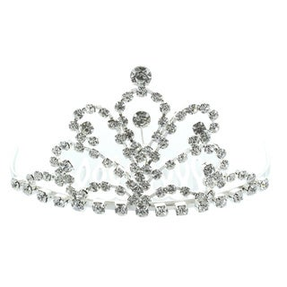 Kate Marie 'Fenia' Rhinestone Crown Tiara Hair Pin in Silver