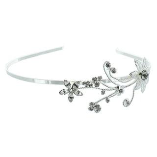 Kate Marie 'Selena' Rhinestone Floral Headband in Silver