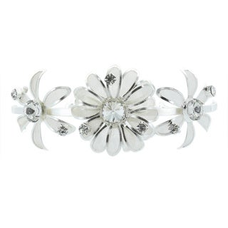 Kate Marie 'Tonia' Rhinestones Floral Tiara Hair Pin in Silver