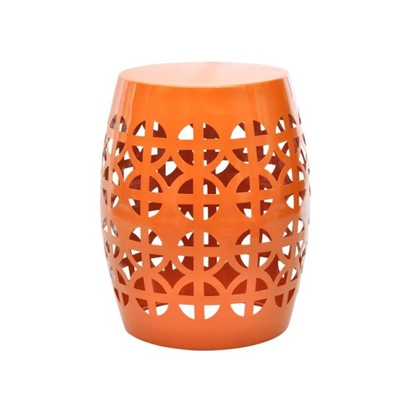 Beautiful Artisan Orange Garden Stool/ Side Table