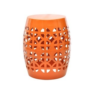 Artisan Orange Garden Stool/ Side Table