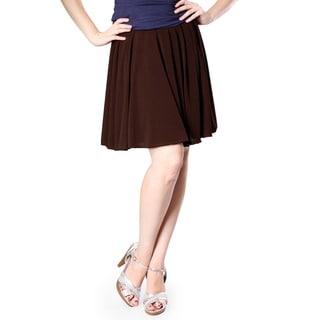 Evanese Women's Yoke Uneven Pleats Skirt