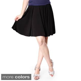 Evanese Women's Yoke Uneven Pleats Skirt|https://ak1.ostkcdn.com/images/products/9602695/P16788546.jpg?impolicy=medium
