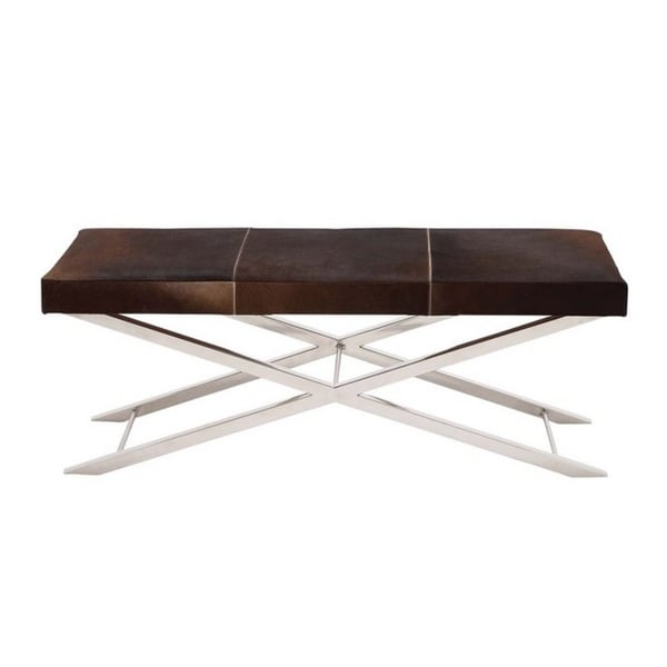 Shop Artisan Brown Cowhide Stainless Steel Cross Bench