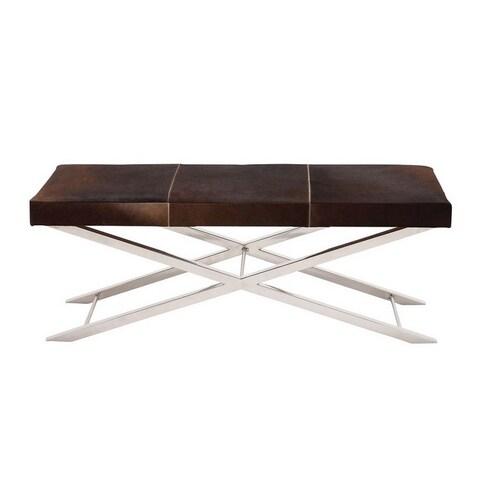 Artisan Brown Cowhide Stainless Steel Cross Bench