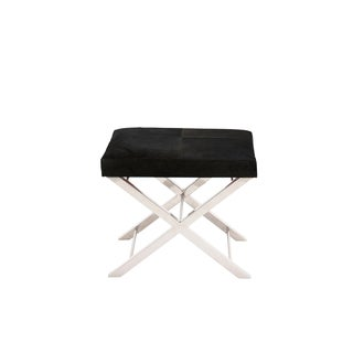 Artisan Stainless Steel/ Black Cowhide Cross Bench