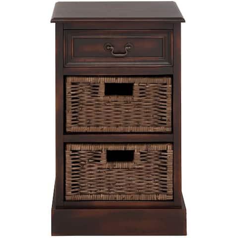 Portman Handcrafted Distressed 3-Drawer Storage Chest w/ Baskets Nightstand