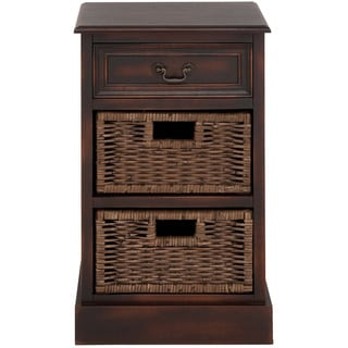 Portman Handcrafted Distressed 3-Drawer Storage Chest w/ Baskets Nightstand