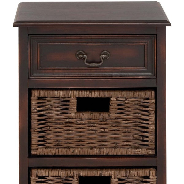 Portman Handcrafted Distressed 3 Drawer Storage Chest W/ Baskets Nightstand    Free Shipping Today   Overstock.com   16788856