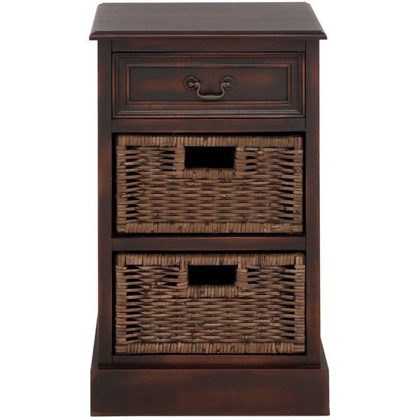 Portman Handcrafted Distressed 3 Drawer Storage Chest W/ Baskets Nightstand
