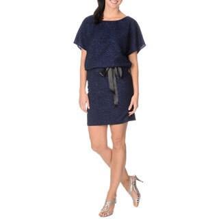 S.L. Fashions Women's Navy Glitter-knit Popover Dress