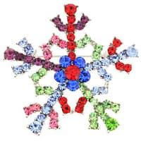 Multi-color Crystal Christmas Snowflake Pin Brooch