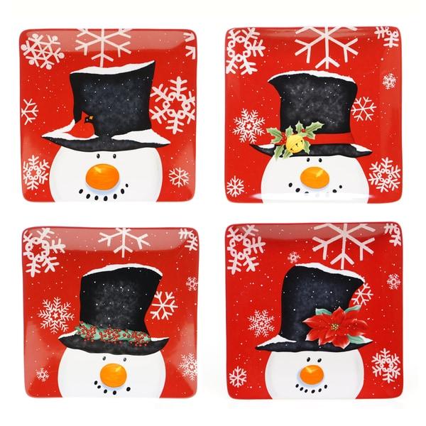 Certified International Top Hat Snowman 10.5 inch Dinner Plate (set of 4)