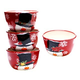 Certified International Top Hat Snowman Ice Cream Bowls