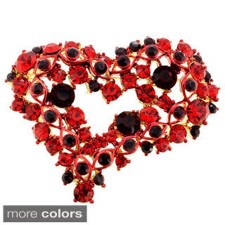 Red Heart Crystal Pin Brooch