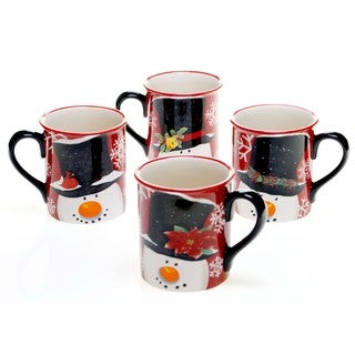 Certified International Top Hat Snowman 16 ounce Mug (set of 4)