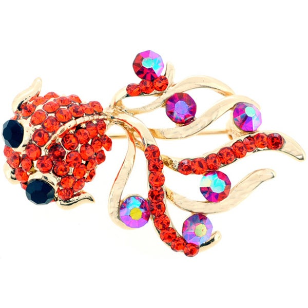 14d5670a6667f Shop Orange Golden Fish Crystal Pin Brooch - Free Shipping On Orders ...