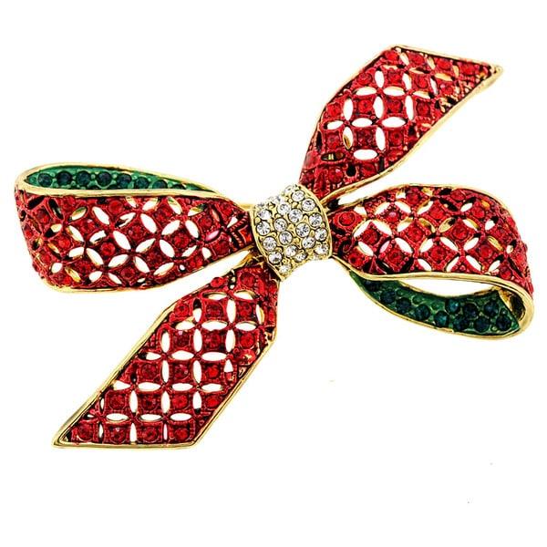 Crystal Christmas Bow Brooch Pin