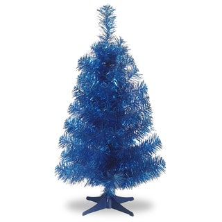 3-foot Tinsel Wrapped Blue Tree with Plastic Stand