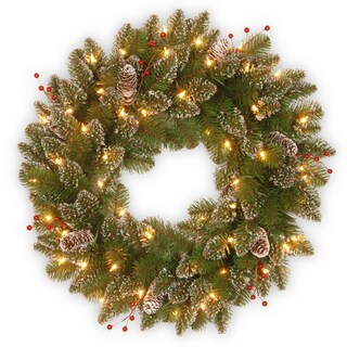 24-inch Glittery Mountain Spruce Wreath with White Edged Cones, Red Berries and Lights