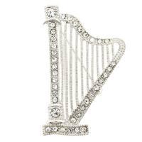 Chrome Base Metal Crystal Harp Brooch