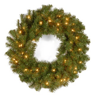 24-inch Kincaid Spruce Wreath with 50 Clear Lights
